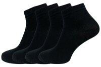 Damen Socken 4er Pack schwarz hoher Baumwollanteil