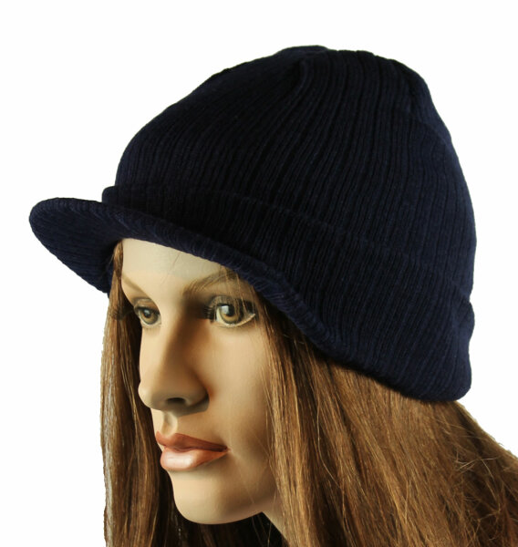 """Damen Schirmmütze Cap """"Berlin""""  dunkelblau Strickmütze mit Schirmchen"""