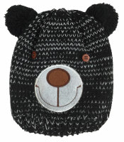 """Kleinkinder-Mütze """"Bär"""" mit Teddy-Innenfutter Teddygesichtapplikation mit Knopfaugen"""