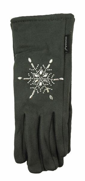 """Smartphone-Damen-Handschuhe """"Alcantara"""" dunkelgrau Snowflake"""