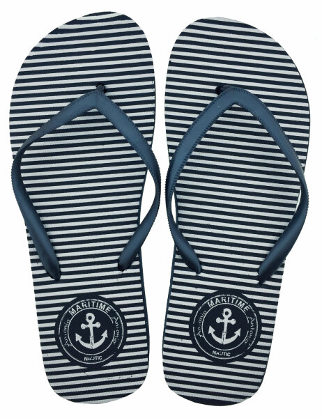 Lady Beach Slipper Anker 40/41 weiß/blau gestreift