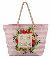 """Beach Bag """"Summerprint"""" Strandtasche mit verschiedenen Sommer-Designs mit maritimen Henkeln in Schifstau-Optik"""