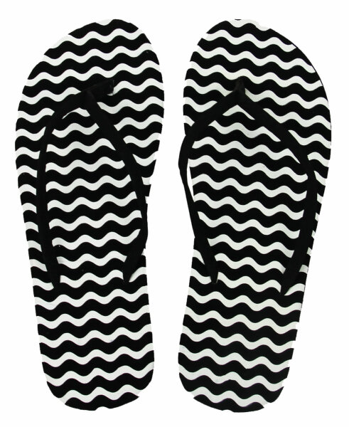 Lady Beach Slipper Black & White 41 Wave