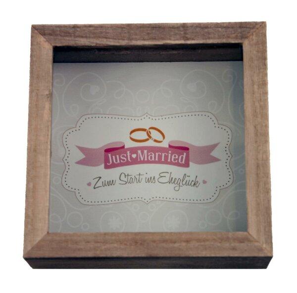 """Holz-Spardose braun  inkl. Wandhaken """"Just Married"""" - dekorative Spardose zum Hinstellen oder Aufhängen"""