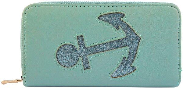 "Damengeldbörse ""Anker Cut Shiny"" Mint großes Portemonnee maritim - Anker-Design"