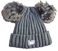"""Damen Winter Mütze """"Smilla"""" Strickmütze im Streifendesign mit 2 PomPoms"""