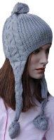 """Damen Winter Mütze """"Nepal"""" Strickmütze mit langen Zöpfen und Bommeln"""