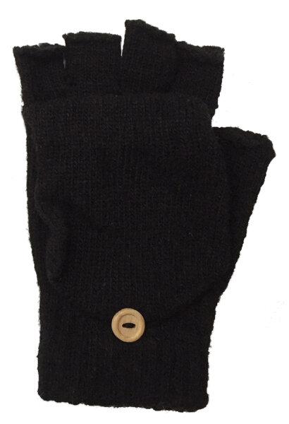 """2 Paar Winter-Handschuhe """"Flip"""" Schwarz  unisex, fingerlos Strick-Design mit Klappdeckel für die Fingerkuppen"""