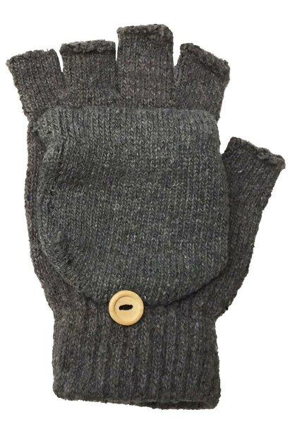 """2 Paar Winter-Handschuhe """"Flip"""" Hellgrau unisex, fingerlos Strick-Design mit Klappdeckel für die Fingerkuppen"""
