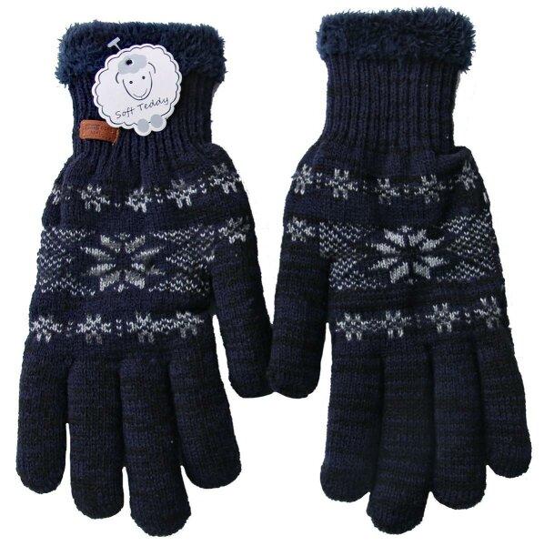 "Winter Handschuhe ""Snowflake"" Blau unisex, Teddyfutter"