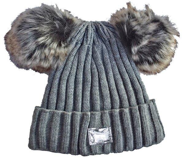 """Damen Winter Mütze """"Smilla"""" Hellgrau Strickmütze im Streifendesign mit 2 PomPoms"""
