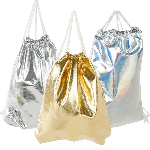 """Gym Bag """"Glamour"""" Turnbeutel, Damen Stringbag Hipster glänzende Rucksacktasche passt zu fast jedem Kleidungsstil"""