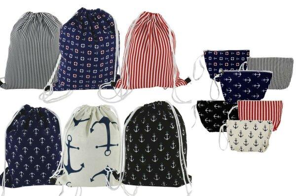 "Gym Bag ""Ostsee"" inkl. passendem Etui - Beutelrucksack im maritimen Design"