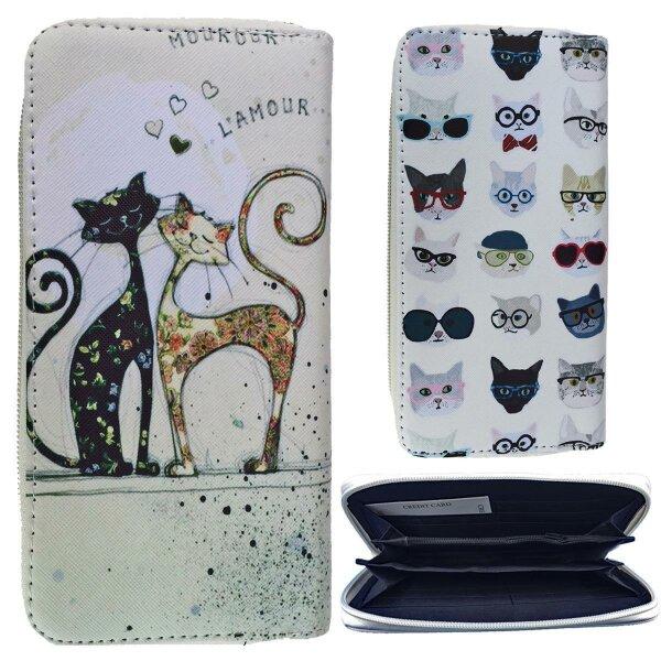 """Damengeldbörse """"Cats"""" großes Portemonnaie mit Katzenmotiv mehrfarbiges Design"""