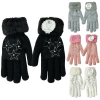 Damen Winter Handschuhe Star Teddyfutter