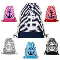 Gym Bag Anker - Turnbeutel-Rucksack in maritimem Design...