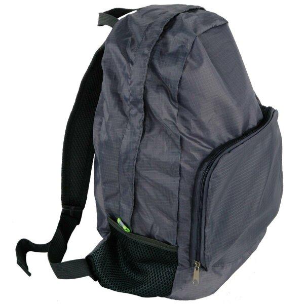 """Faltrucksack """"Shoppy"""" Grau Fliegengewicht ein Must Have, gehört in jede Handtasche, in jedes Auto für Reisen, Camping und den Alltag"""