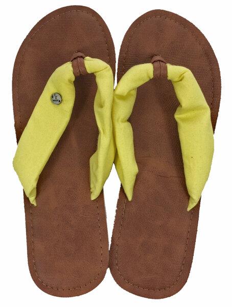 """Lady Beach Slipper """"Ibiza"""" 36/37 Gelb Strandschuh im Top-Design mit breiten Canvas Riemen für besten Tragekomfort"""