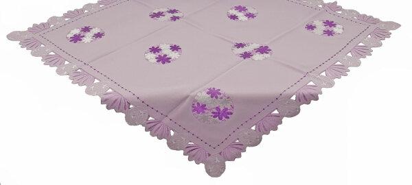 """Tisch-Mitteldecke """"Ostern"""" 85 x 85 cm Flieder Osterei-Stickerei mit ausgebogtem Rand"""