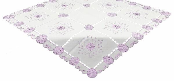 """Tisch-Mitteldecke """"Ostern II"""" 85 x 85 cm Weiß bestickte Osterdecke mit Lochstickerei und ausgebogtem Rand"""