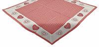 """Tisch-Mitteldecke """"Kempten"""" 85 x 85 cm - pflegeleichte Decke im Landhaus-Stil mit Vichy-Karo und Herz Stickerei"""