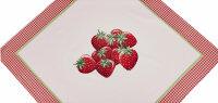 """Tisch-Mitteldecke """"Motiv"""" Erdbeere 90 x 90 cm pflegeleichte Tischdecke für Küche, Garten, Balkon und Co."""