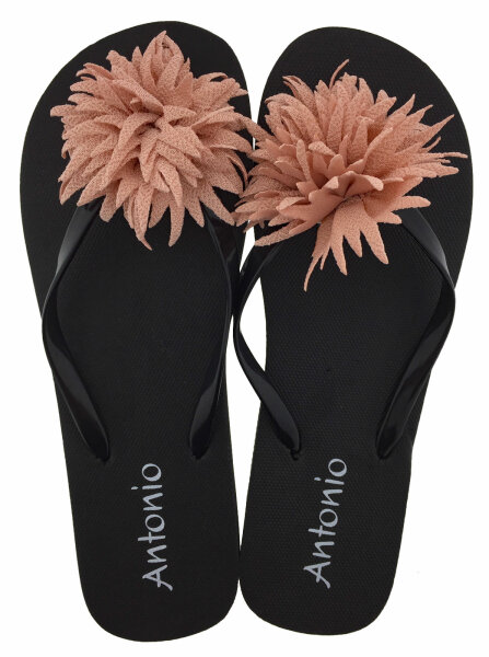 "Damen Beach Slipper ""Blossom"" - Zehentrenner mit textiler Blütenapplikation 38/39 Rosé"