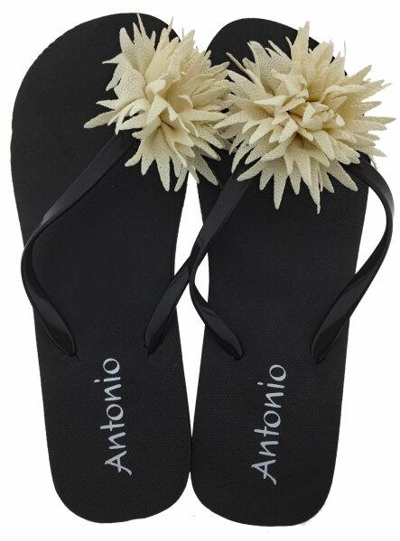 """Damen Beach Slipper """"Blossom"""" - Zehentrenner mit textiler Blütenapplikation 40/41 Beige"""