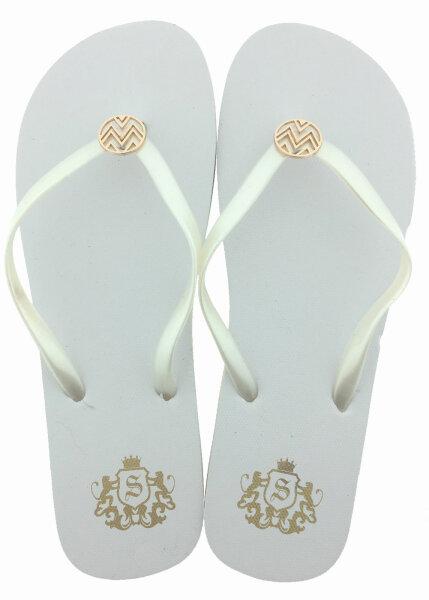 """Lady Beach Slipper """"Nobility"""" 36 Weiß - eleganter Damen-Zehentrenner mit goldfarbener Metallapplikation"""