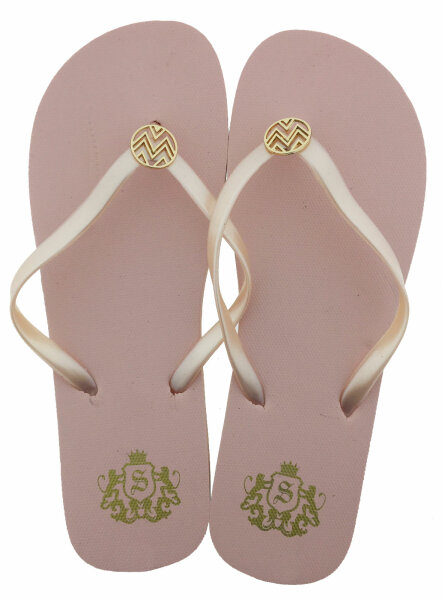 "Lady Beach Slipper ""Nobility"" 39 Apricot - eleganter Damen-Zehentrenner mit goldfarbener Metallapplikation"