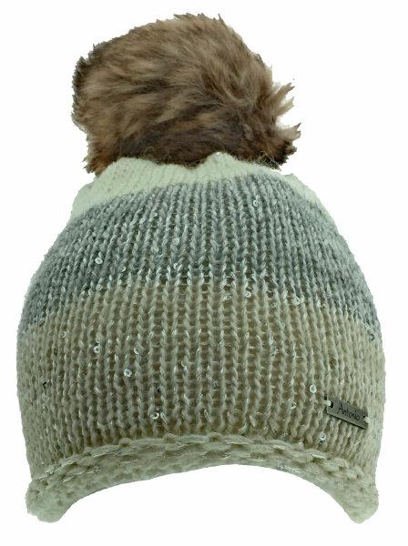 """Damen Winter-Strick-Mütze """"Runa"""" Beige/Grau mit flauschigem PomPom und Glitzereffekten"""