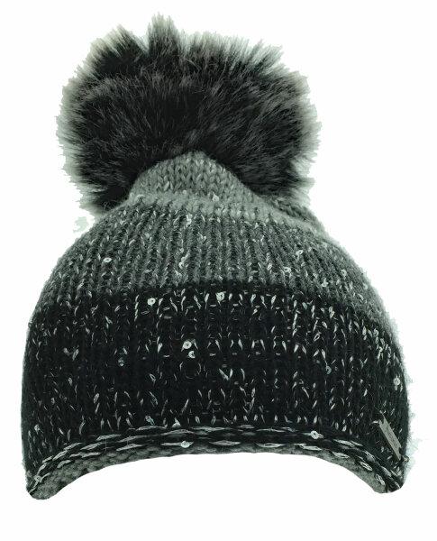 """Damen Winter-Strick-Mütze """"Runa"""" Schwarz/Grau mit flauschigem PomPom und Glitzereffekten"""