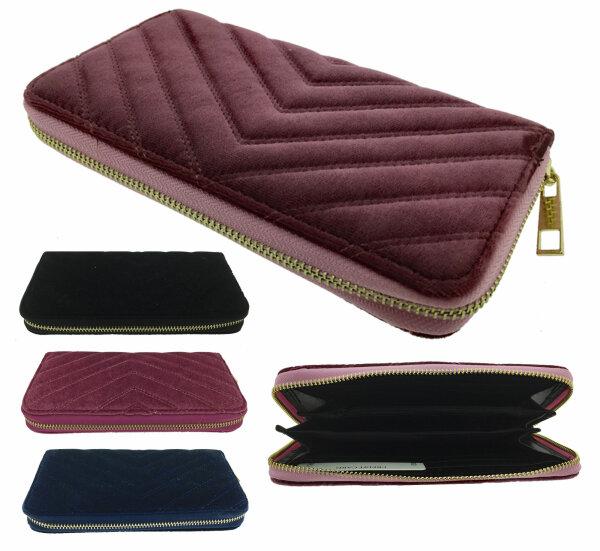 "Damengeldbörse ""Velvet"" großes Samt-Portemonnee Querformat Schwarz Blau Rot Rosa"