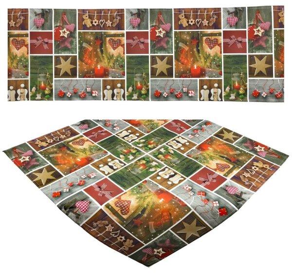 """Tisch-Mitteldecke 85 x 85 cm/ -Läufer 40 x 160 cm """"Weihnachtsdeko"""" Weihnachten Winter Deko Fotodruck"""