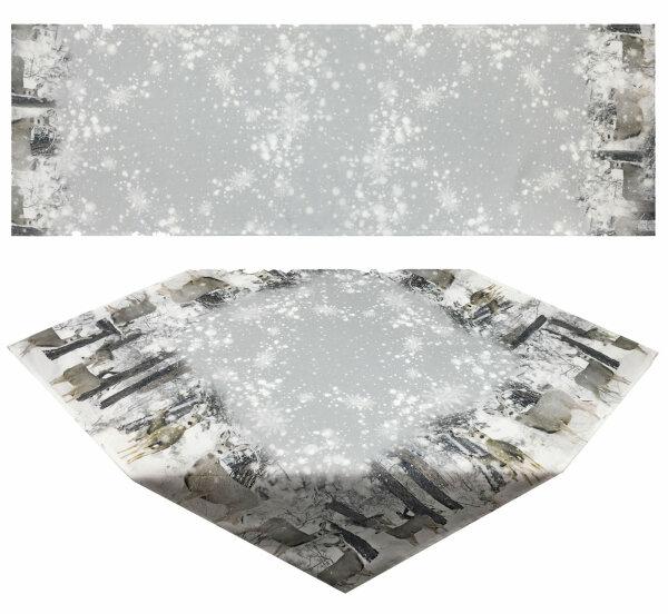 """Tisch-Mitteldecke 85 x 85 cm/ -Läufer 40 x 160 cm """"Winterlandschaft"""" pflegeleichte Fotodruck-Tischdecke für stilvolle Advents-/Weihnachtsdekoration"""
