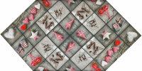 """Tisch-Mitteldecke 85 x 85 cm """"X-Mas Cottage"""" Weihnachten Sterne Herzen Shabby Chic bis Modern Holzstruktur"""