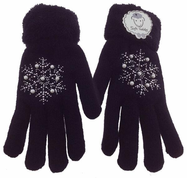 "Damen Winter Handschuhe ""Pearl"" Teddyfutter Schwarz"