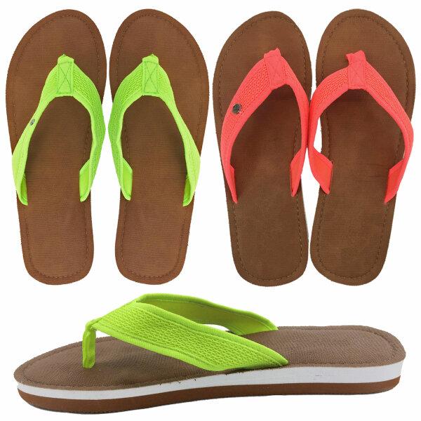 """Lady Beach Slipper """"Jamaika"""" Neon Strandschuh im Top-Design mit breiten Riemen für besten Tragekomfort"""