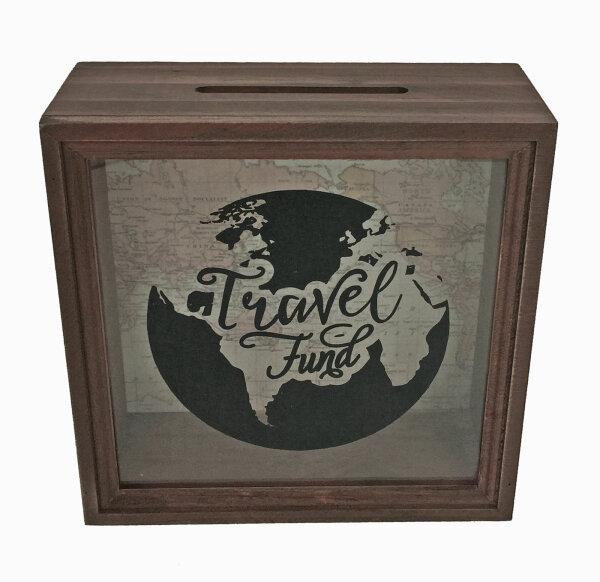 """Holzspardose """"Travel Fund"""""""