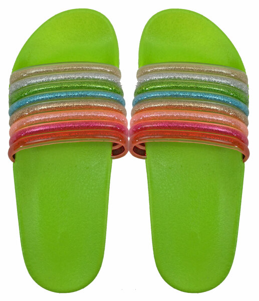 Damen Slipper Rainbow 39 Grün
