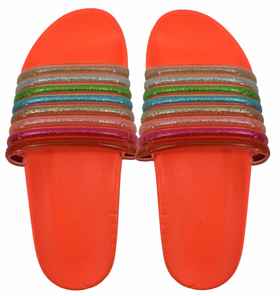 Damen Slipper Rainbow 39 Orange