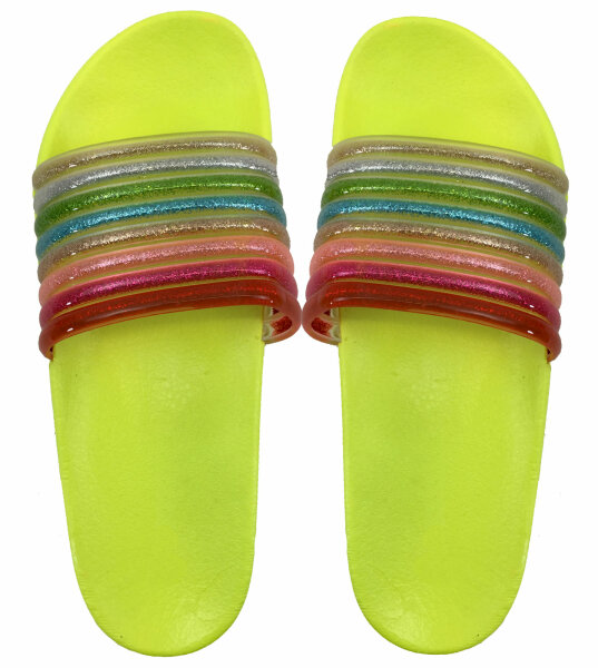 Damen Slipper Rainbow 40 Gelb