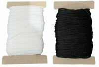 10 m Maskengummi Weiß / Schwarz 3 mm / 5 mm