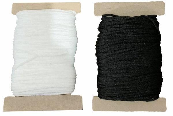 25 m Maskengummi Weiß / Schwarz 3 mm / 5 mm