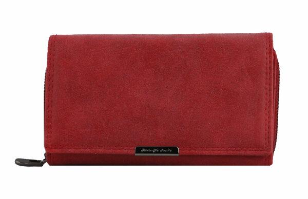 """Damengeldbörse """"Liv"""" rot - großes Querformat-Damenportemonnaie schlichtes unifarbenes Design  für Frauen und Mädchen"""