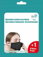"""Baumwollmaske mit Aktivkohle-Filter """"Uni"""" Schwarz"""