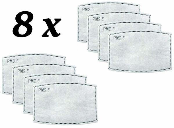 NEO-24 8er Pack Aktivkohle Filterpads für Kinder Mundschutz-Maske