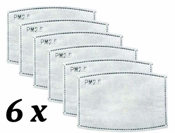 NEO-24 6er Pack Aktivkohle Filterpads für Mundschutz-Maske für Erwachsene