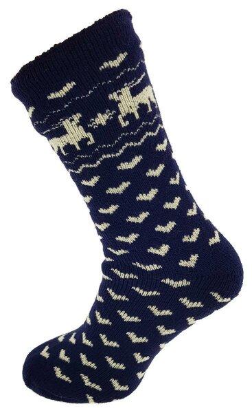 """Damen Thermo Socken """"Elch"""" 35 - 38 Blau"""