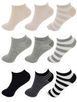 """9er Pack Damen Sneaker Socken """"Streifen-Mix"""" 35 - 38"""